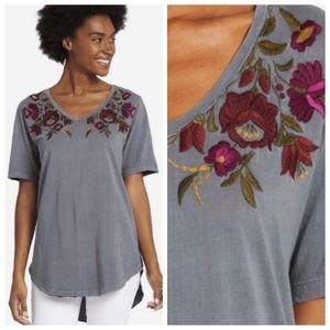 Life is Good bouquet embroidery v-neck top